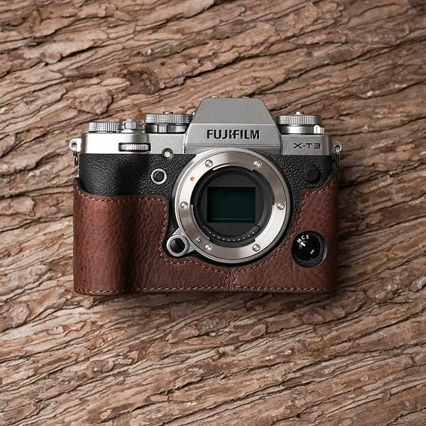 Leather camera half case for Fuji X-T3 Red brown