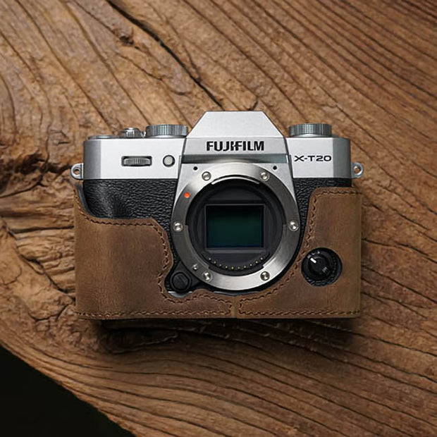 Leather camera half case for Fuji X-T20 X-T30 Horse color