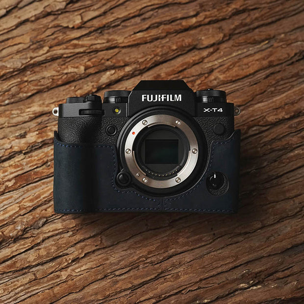 Leather camera half case <br>for Fuji X-T4 Dark blue