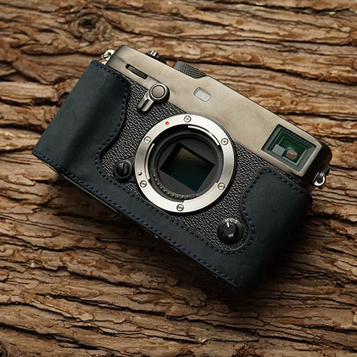 Leather half case <br>for Fuji X-PRO3 Navy blue