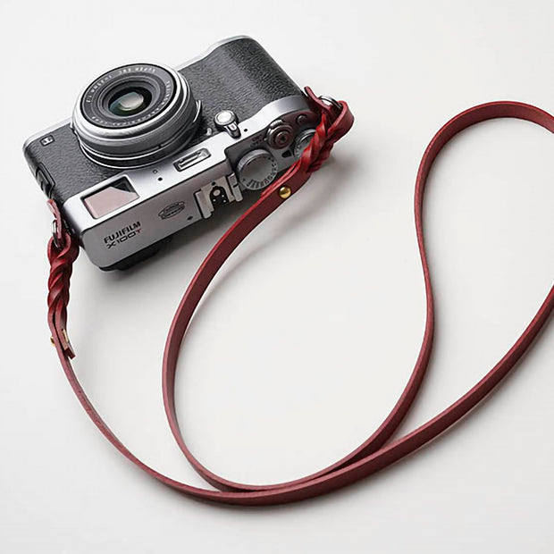 Hoden leather camera strap Red