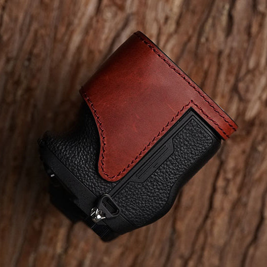 Leather camera half case <br>for Sony A7R IV Red