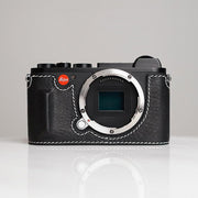 Leather camera half case for Leica CL Black white line