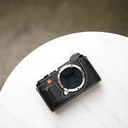 Leather half case for Leica Black white line