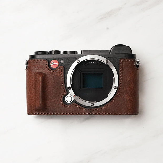 Leather camera half case for Leica CL Red brown