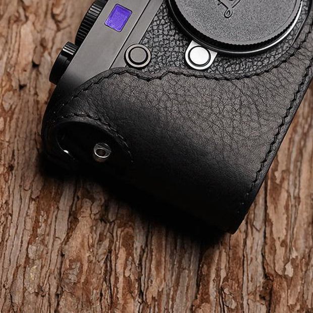 Black leather camera half case for Leica