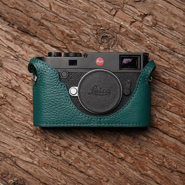 Leather camera half case for Leica M10 Green