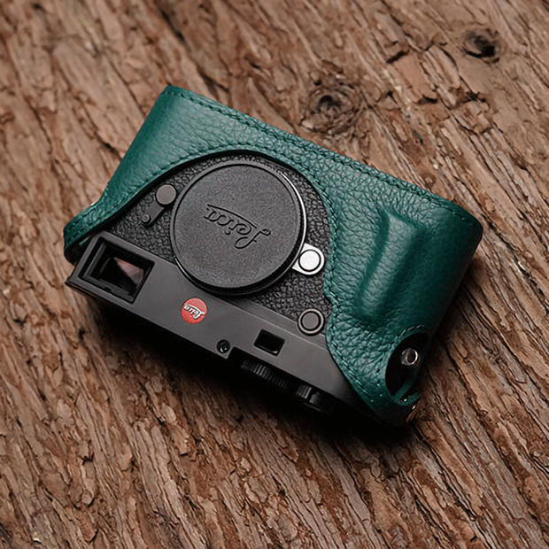real green Leather camera half case for Leica