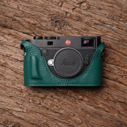Green Leather half case for Leica M10 with handle