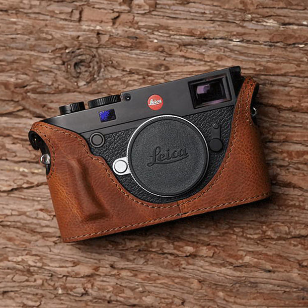 red brown leather half case for Leica