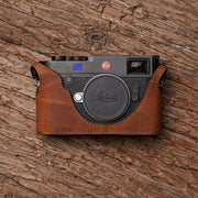 Leather camera half case for Leica M10 Red brown