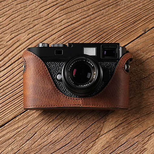 Leather camera half case for Leica M9 M Red brown