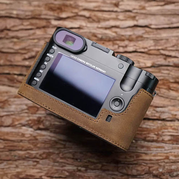 camera half case for Leica in real leather