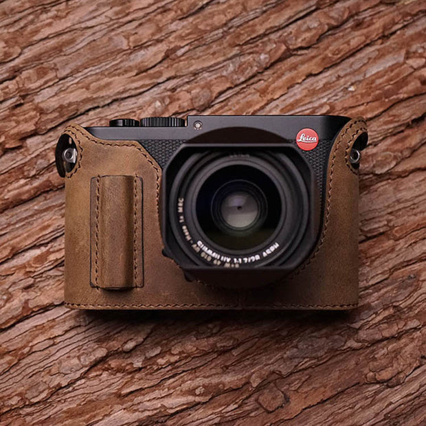 Leather camera half case for Leica Q2 Horse color