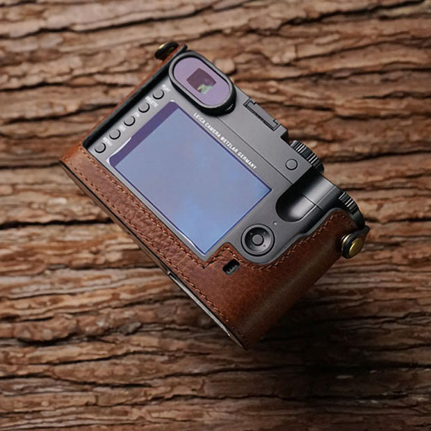 Red brown leather half case for Leica Q