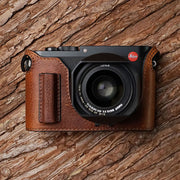 Leather camera half case for Leica Q Red brown