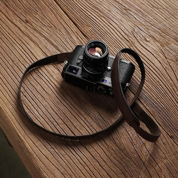 Purst leather camera strap Red brown