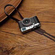 leather camera strap in red brown