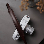 Roled leather camera strap <br>Deep coffee