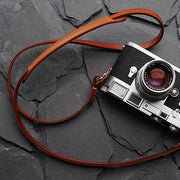 Roled leather camera strap Light coffee