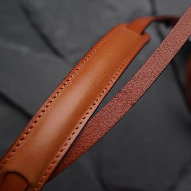 Roled leather camera strap