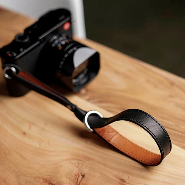 Selino Leather camera wrist strap Black Brown