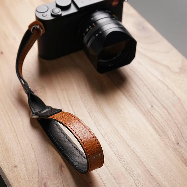 Selino Leather camera wrist strap <br>Brown Black