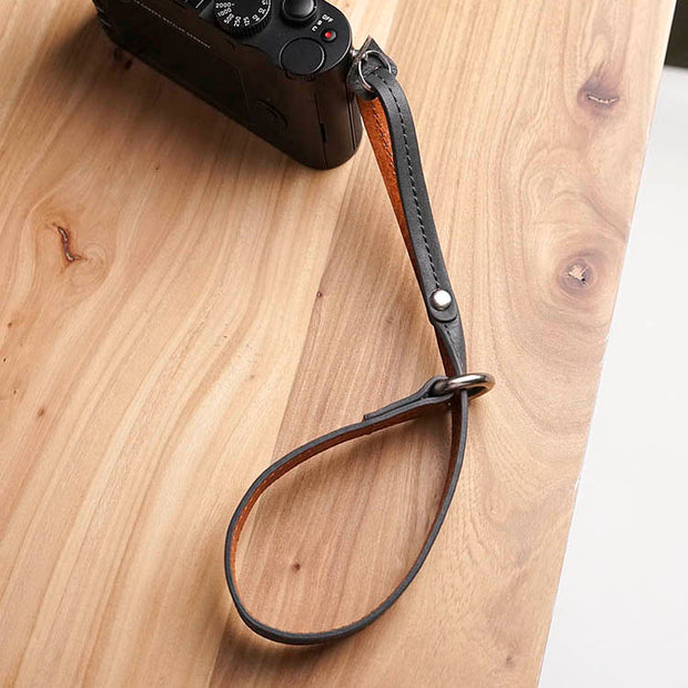 Selino Leather camera wrist strap Brown Gray