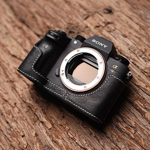 black leather camera half case for Sony