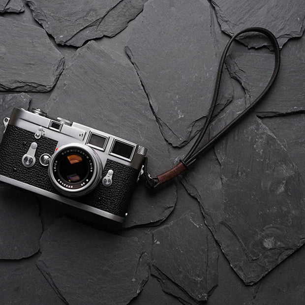 Strace leather camera wrist strap Deep coffee
