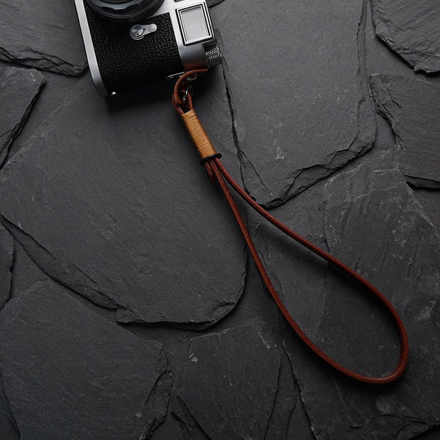 Strace leather camera wrist strap Light coffee