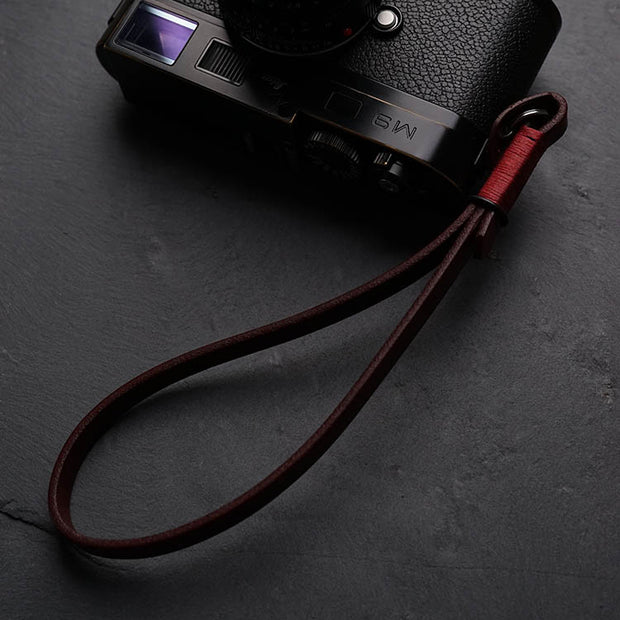 Strace leather camera wrist strap Wine red