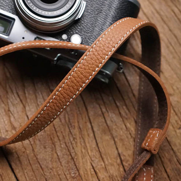 Velvo leather camera strap Camel