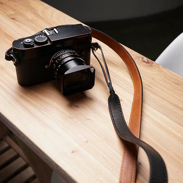 Vestic leather camera strap Black Brown
