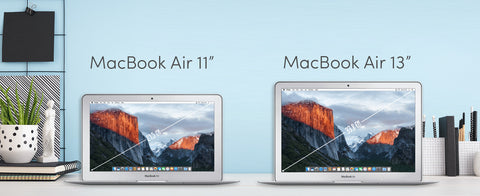 Size Comparison van de MacBook Air 11 inch en 13 inch