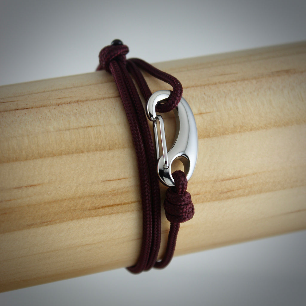 Classic Tactical Cord and Stainless Steel Bracelet in Maroon
