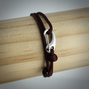 Urban Tactical Cord and Stainless Steel Bracelet in Maroon