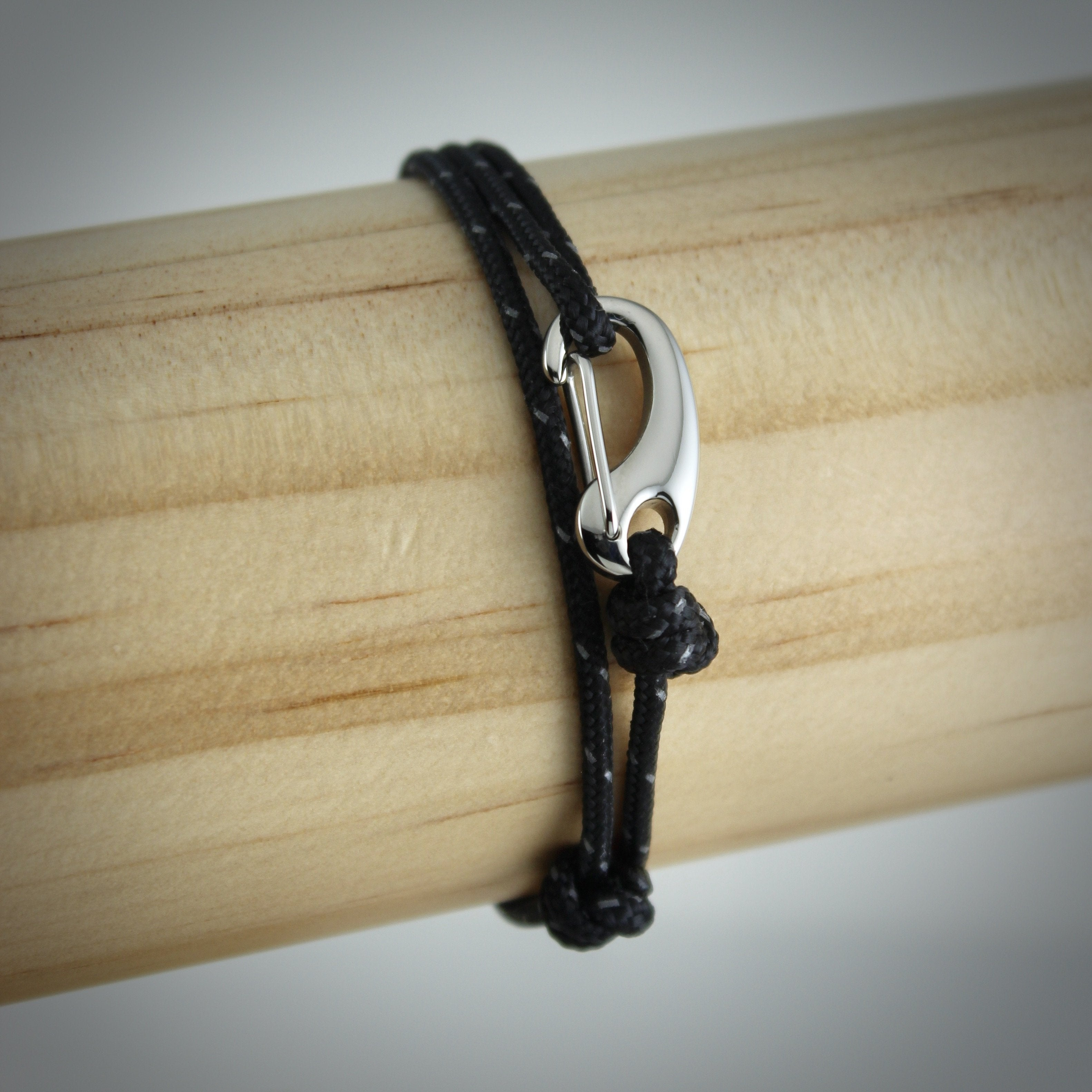 Urban Tactical Cord and Stainless Steel Bracelet in Black Reflective