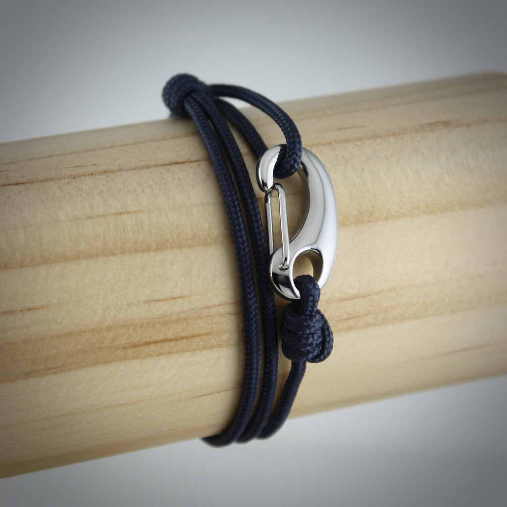 Classic Tactical Cord and Stainless Steel Bracelet in Navy