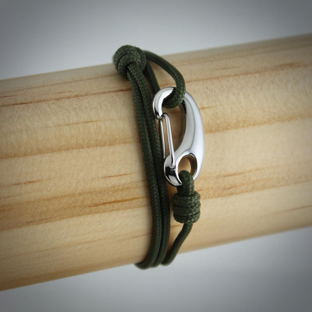 Classic Tactical Cord and Stainless Steel Bracelet in Olive