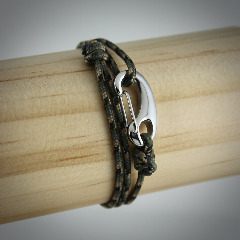 Classic Tactical Cord and Stainless Steel Bracelet in Camo