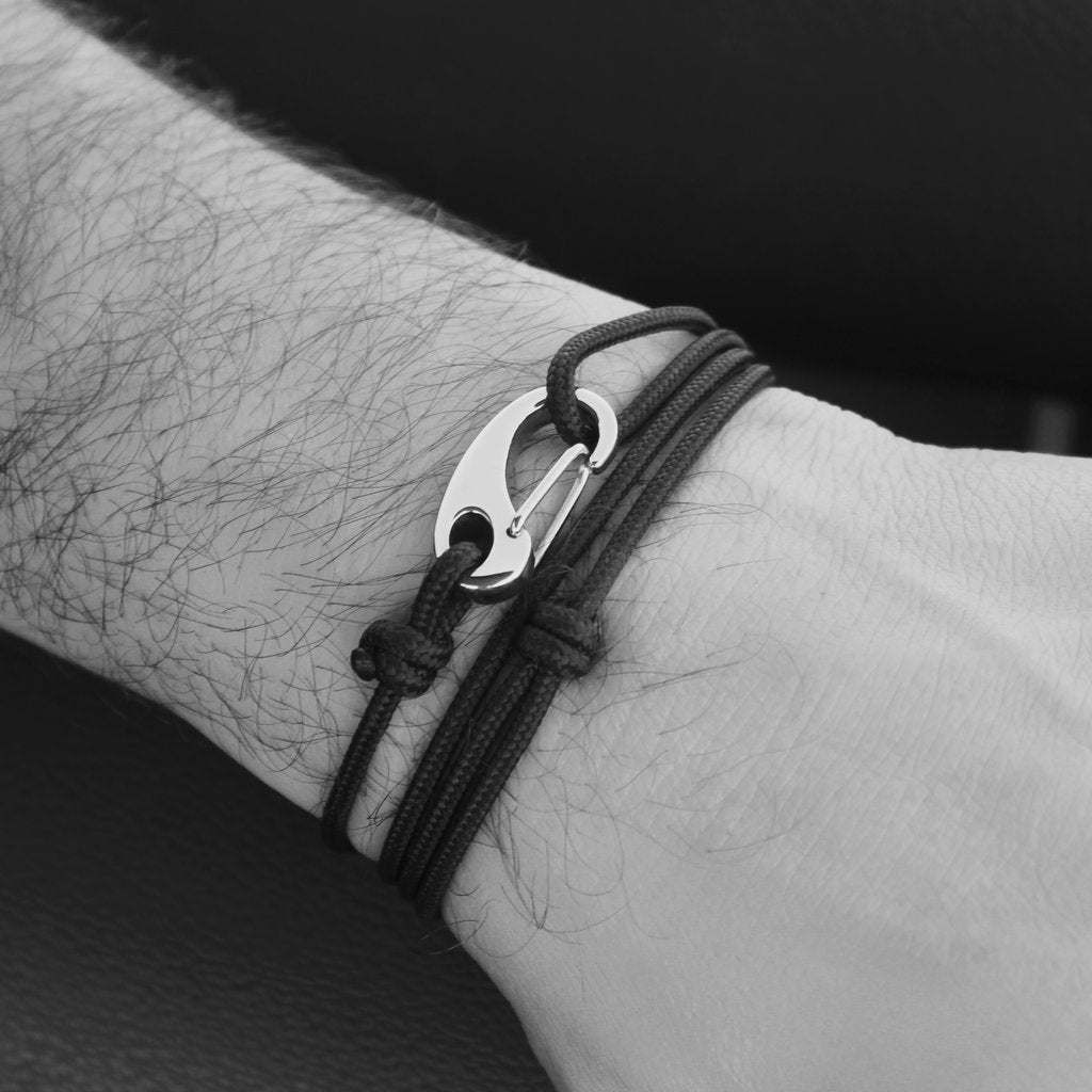 Men's Tactical Cord and Stainless Steel Bracelet in Black