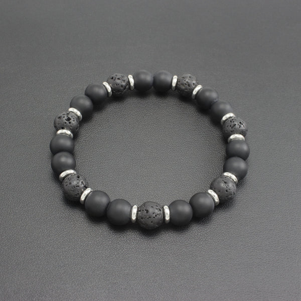 Men's Lava Stone and Black Onyx Bracelet