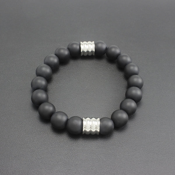 Men's Matte Black Onyx and Stainless Steel Bracelet