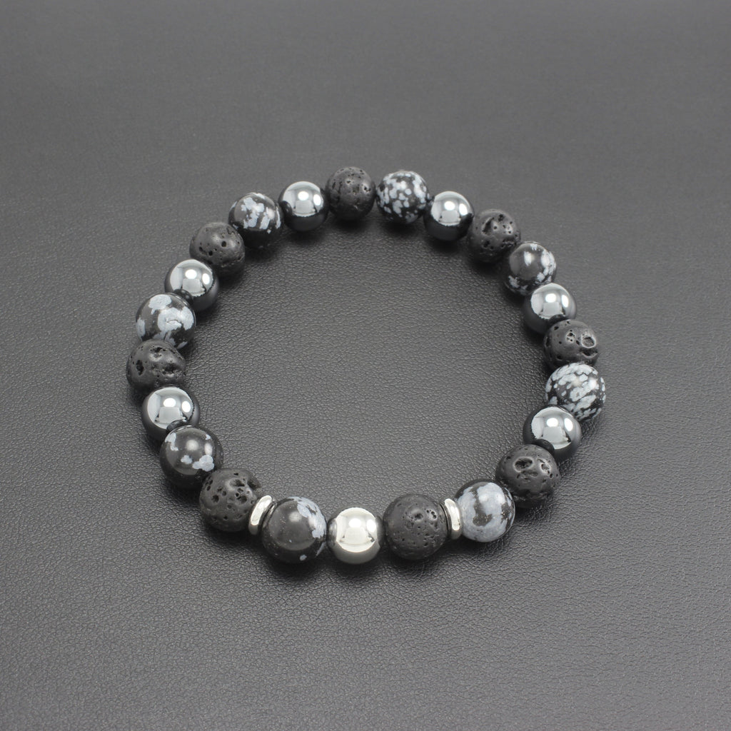 Men's Obsidian, Lava Stone and Hematite Bracelet
