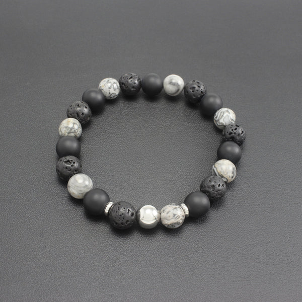 Men's Matte Onyx, Lava Stone and Agate Bracelet