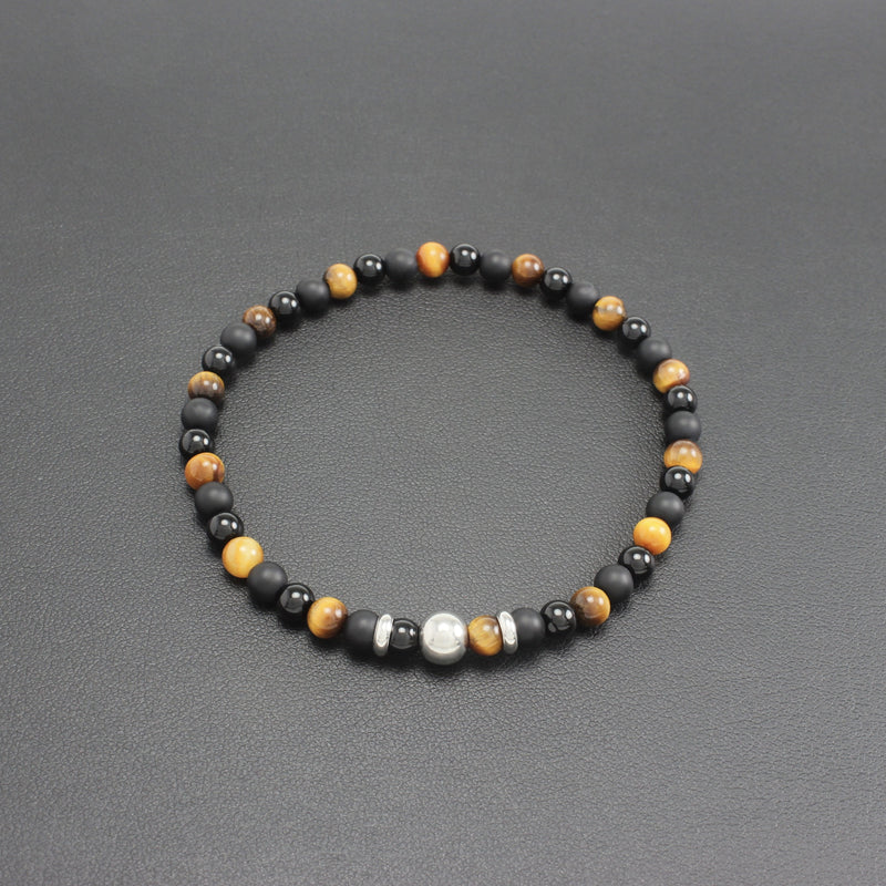 Men's Slim Onyx and Tigers Eye Bracelet