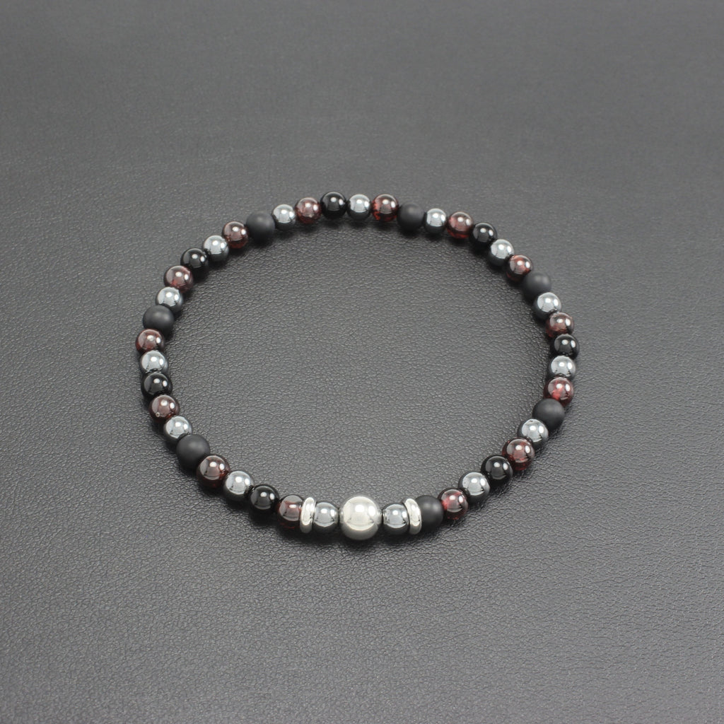 Men's Slim Onyx, Garnet and Hematite Bracelet
