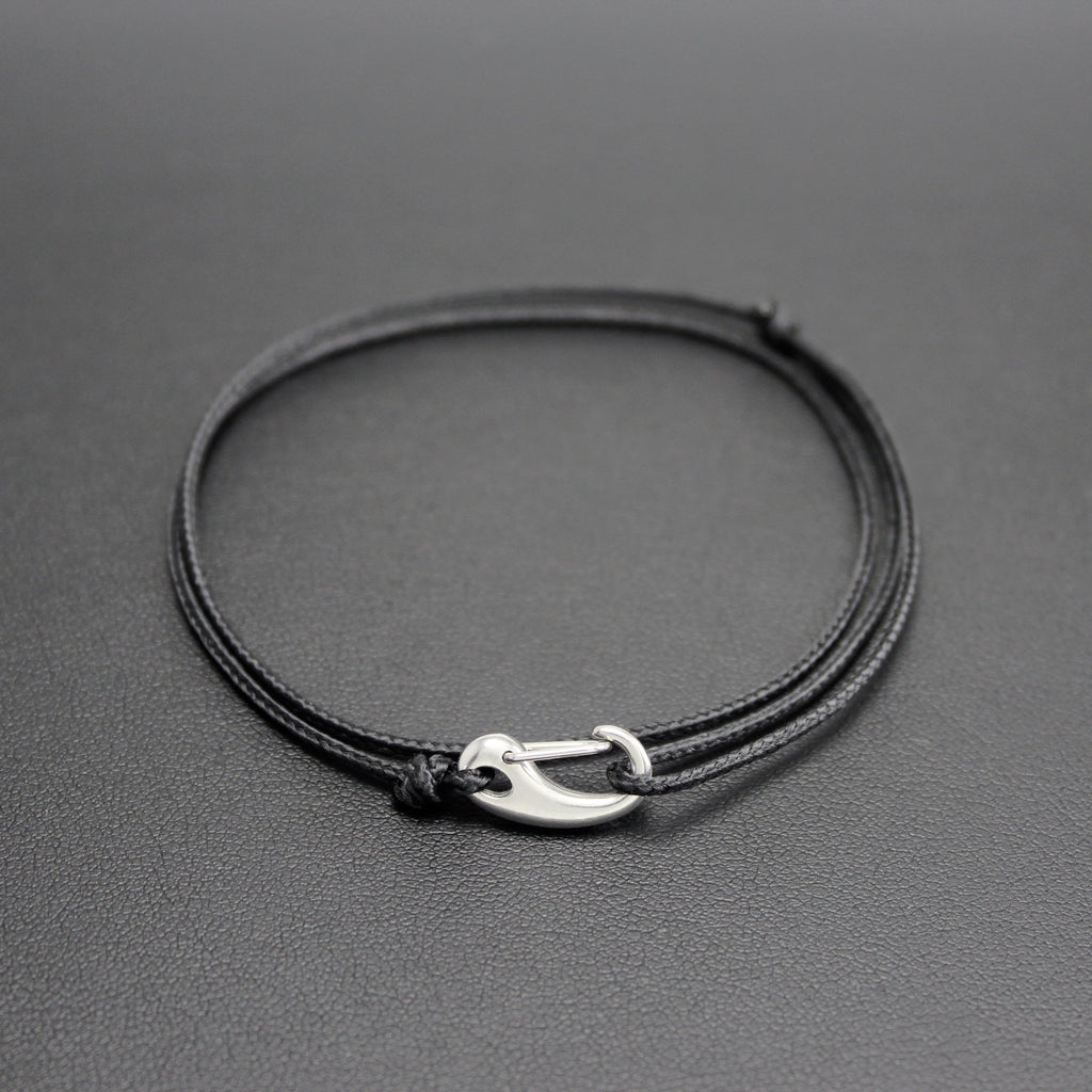 Men's Micro Cord Adjustable Bracelet in Black