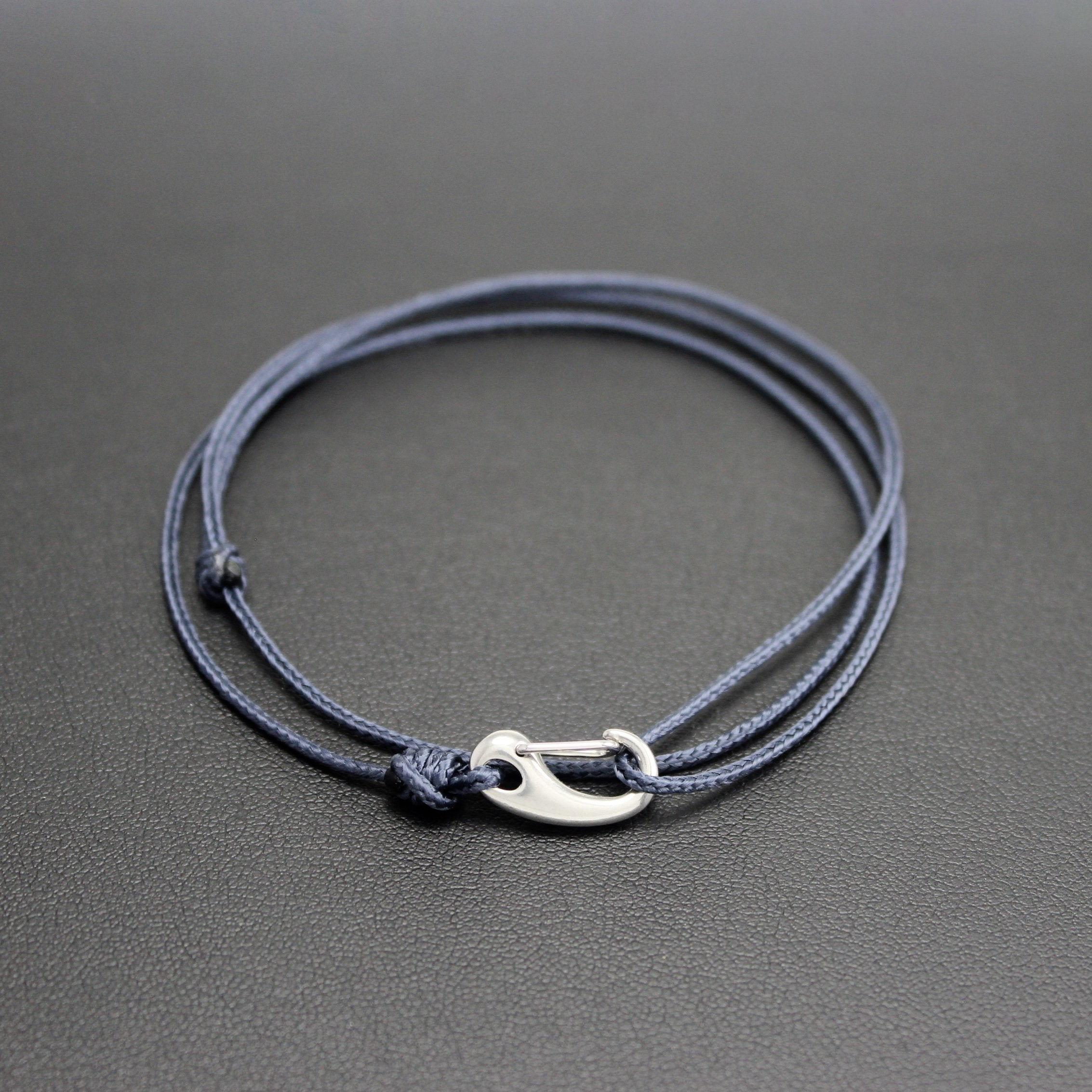 Men's Micro Cord Adjustable Bracelet in Navy